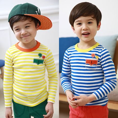 Free Shipping New Style Boy Spring Pocket T shirt Baby Child Casual Striped Tops