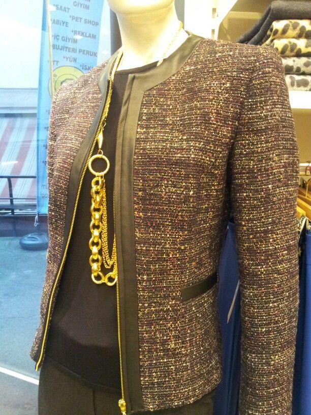 Ekinox tweet yunlu kumastan deri biyeli ceket.fiyat:210 tl