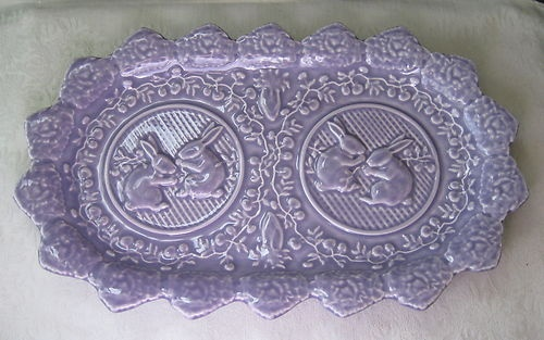 Bordallo Pinheiro Bunny Rabbit Embossed Oval Platter Majolica Ware Lavender