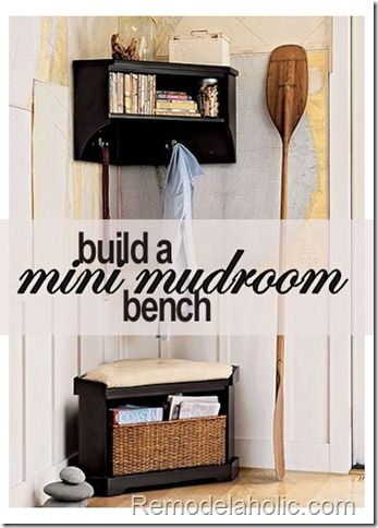 Build this corner storage bench for your mini mudroom!  #Building_plans #DIY #storage #bench