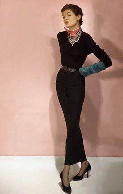 Maxime de la Falaise wearing a dress she designed for Paquin's boutique.  Photo by Horst P.  Horst, 1950.