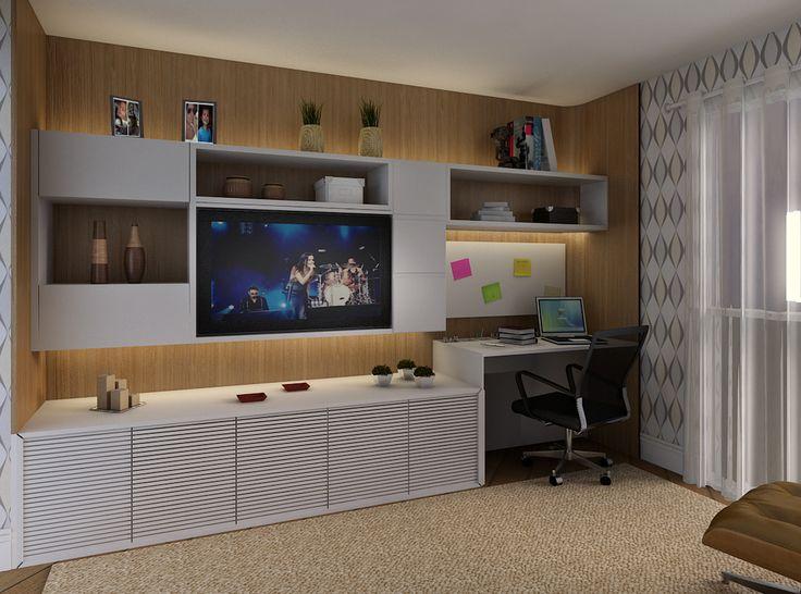 Home Office Na Sala De Tv ~ 51 melhores imagens sobre apto no Pinterest  Madeira, Design interior