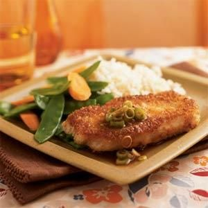 Wasabi and Panko-Crusted Pork with Gingered Soy Sauce | MyRecipes.com