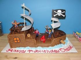 Pirate ship bday cake DIY with box mix