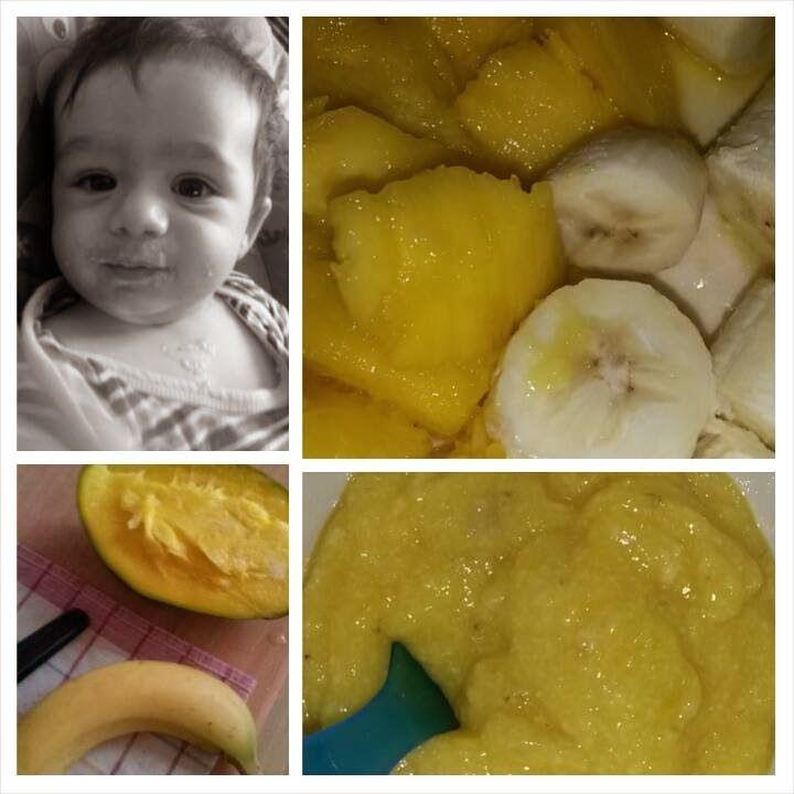 Retete pentru bebe Matteo: Piure de mango si banane ( 6 - 8 luni)