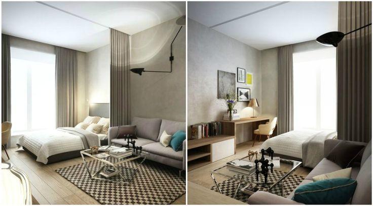 Выделение зоны спальни с помощью штор