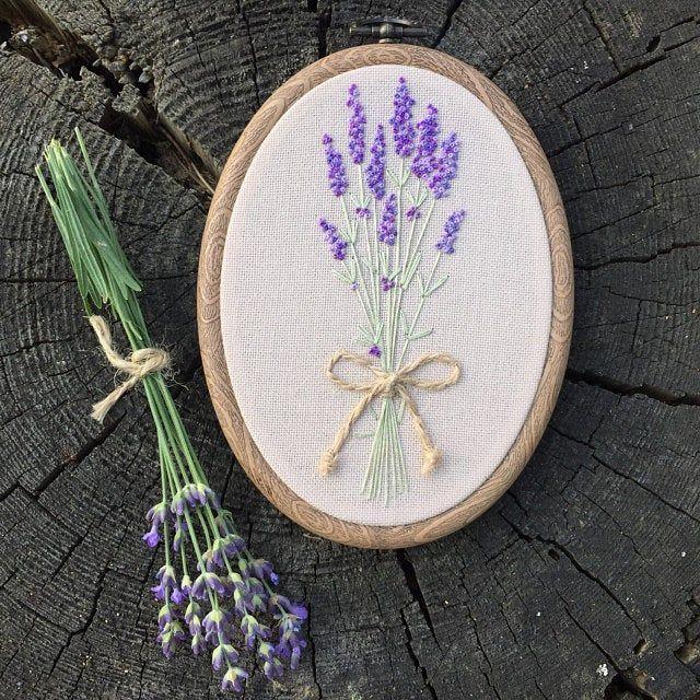 Embroidery Hoop Art Bouquet Of Lavender Hand Embroidered Etsy Embroidery Hoop Art Hoop Art Embroidery Hoop