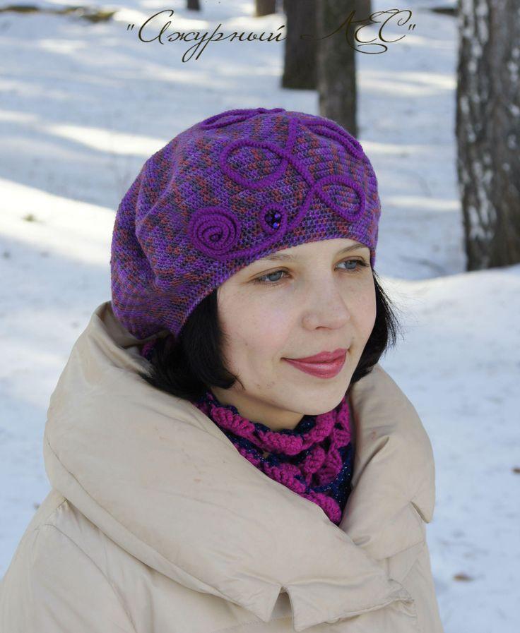 Hats For Women, Knit Hat, Crochet Hat Women, Crochet Beret Hat, Knit French Beret, Womens Hat, Gift For Her, Purple, Wool Elegant Ladies Hat by AzhurLES on Etsy