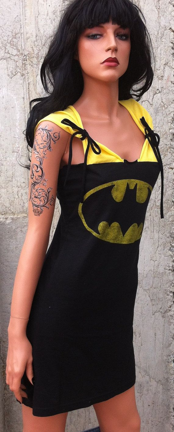 Batman Dress by TShreds on Etsy, $40.00 I bet I could figure out how to make this..