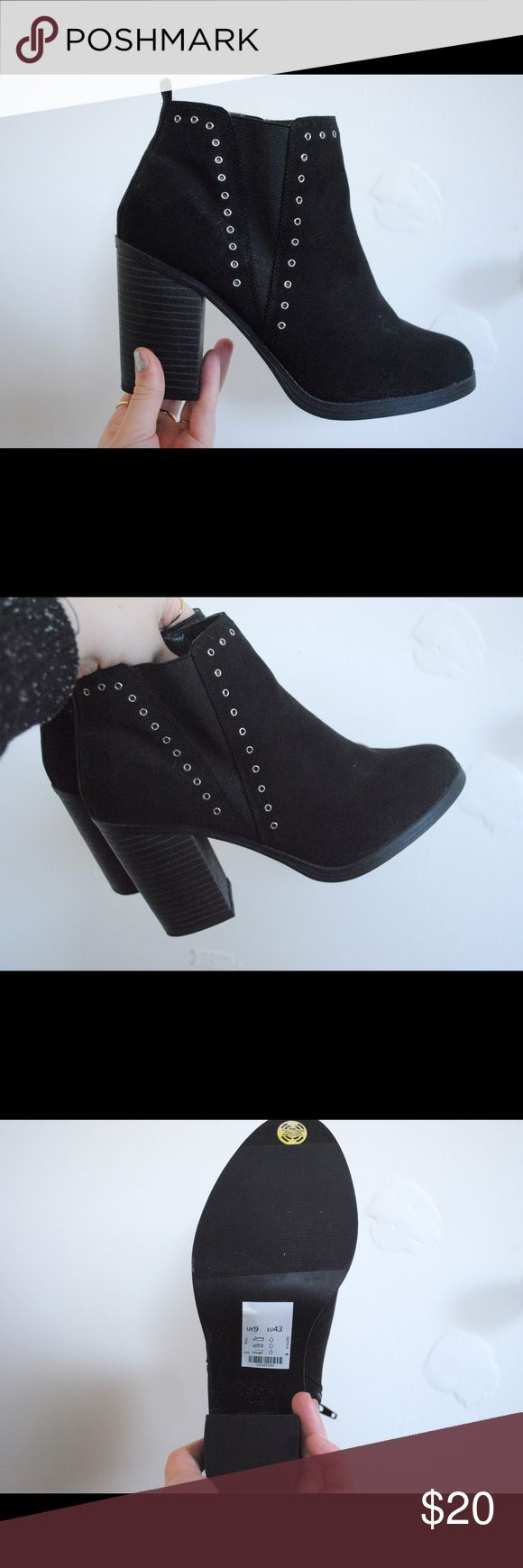 Black Heeled Booties Black heeled booties from the brand New Look. Heels are about four inches. Zipper on the inside. Never been worn! New Look Shoes Ankle Boots & Booties