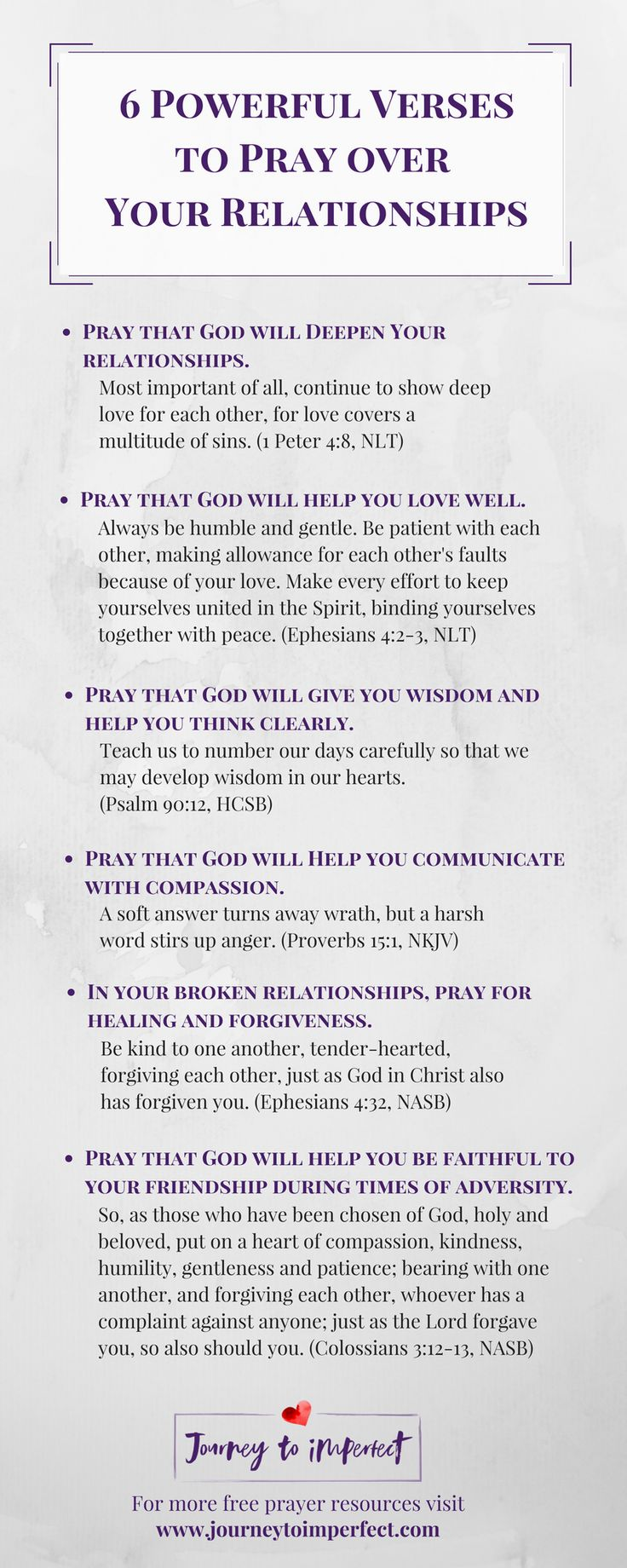 Prayer changes things, especially when it comes to relationships! Pray these powerful verses over your relationships for lasting impact, healing, and renewal from a God who cares!  via @JrnyToImperfect