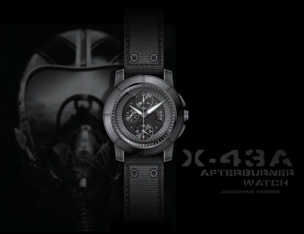 X-43A Afterburner Watch for Air Force Pilots - The name X-43A comes after the world's fastest jet that traveled in excess of 6,500 mph. The purpose of this watch was to resemble a machine that could handle such high velocities, the epitome of speed in the skies. This watch is for those pilots who want to take the experience of flight with them always. Designer: Jonathan Ferrer | via Tuvie