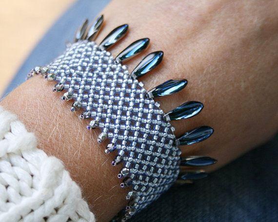 beaded bracelet seed bead bracelet beadwoven by koralikowyraj