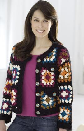 Free Crochet Granny Square Jacket Pattern.