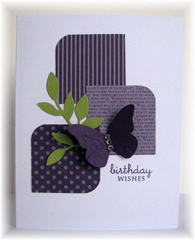not much stamping on this one. Leaves and butterfly are SU die cuts. Sentiment is from Papertrey. Colors are eggplant, limeade and white.