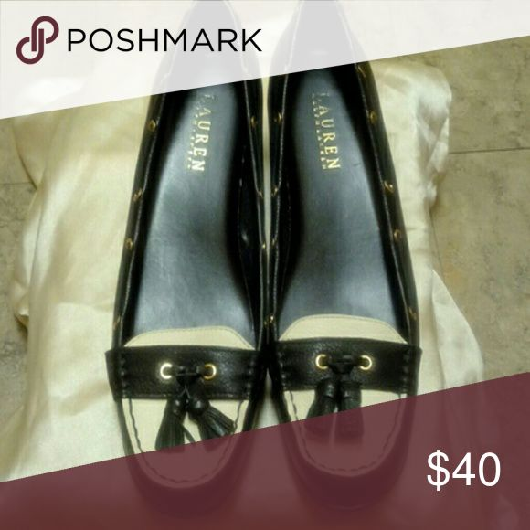 Ralph Lauren Gael low Wedge loafer Pre-owned Black leather with tassels Shoes Flats & Loafers