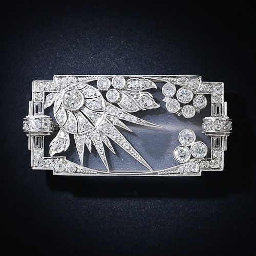 Diamond and Frosted Crystal Art Deco Brooch, c . 1920's
