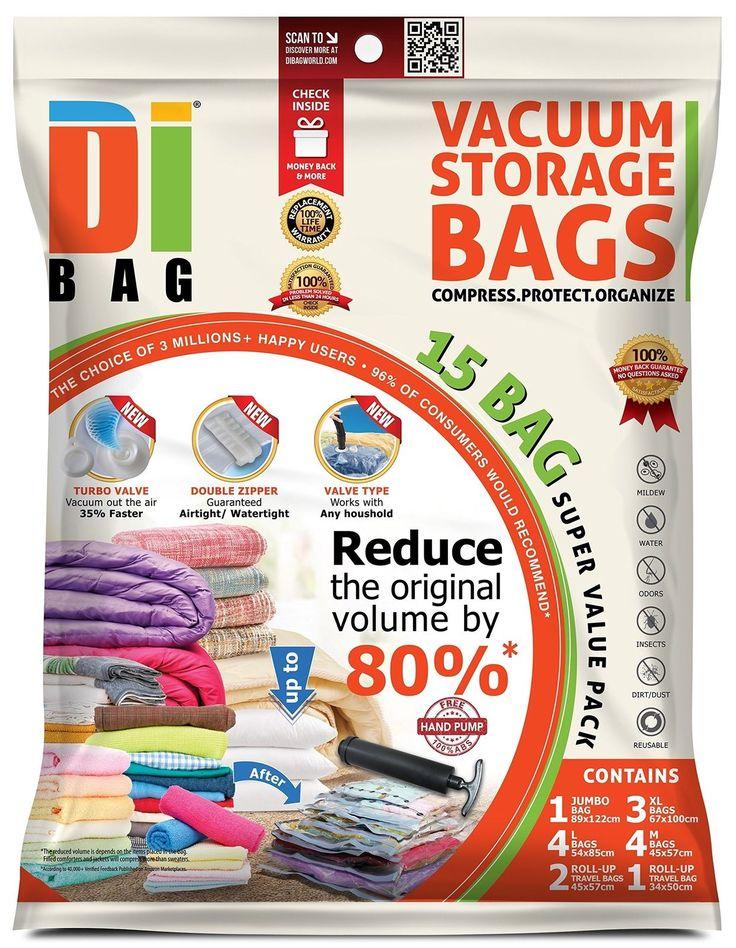 Space Saver Vacuum Storage Bags  15 Premium Travel Space Bags  Bag Size: Ju