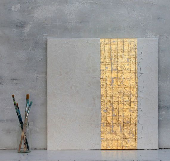 Gold leaf white Abstract painting  office decor von AtelierMaltopf