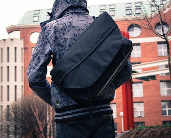 Black Bike Messenger Bag Waterproof Padded Bicycle by LeaflingoOo, $139.00