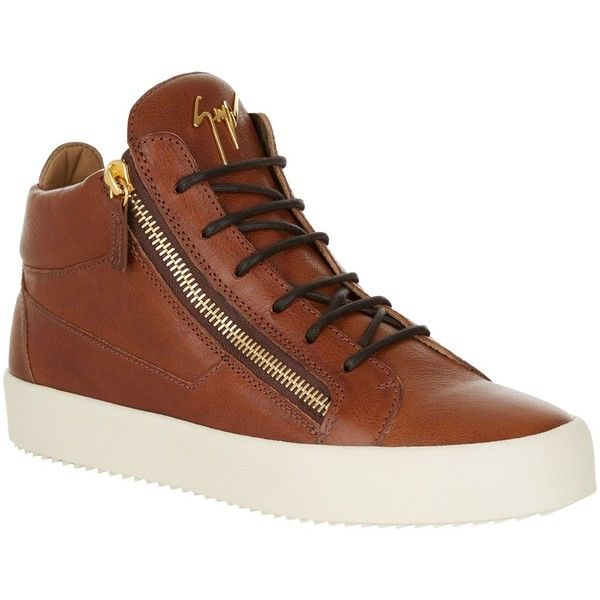 Giuseppe Zanotti Zip Mid-Top Leather Sneaker ($700) ❤ liked on Polyvore featuring men's fashion, men's shoes, men's sneakers, mens leather shoes, mens zipper shoes, mens leather sneakers, giuseppe zanotti mens sneakers and giuseppe zanotti mens shoes
