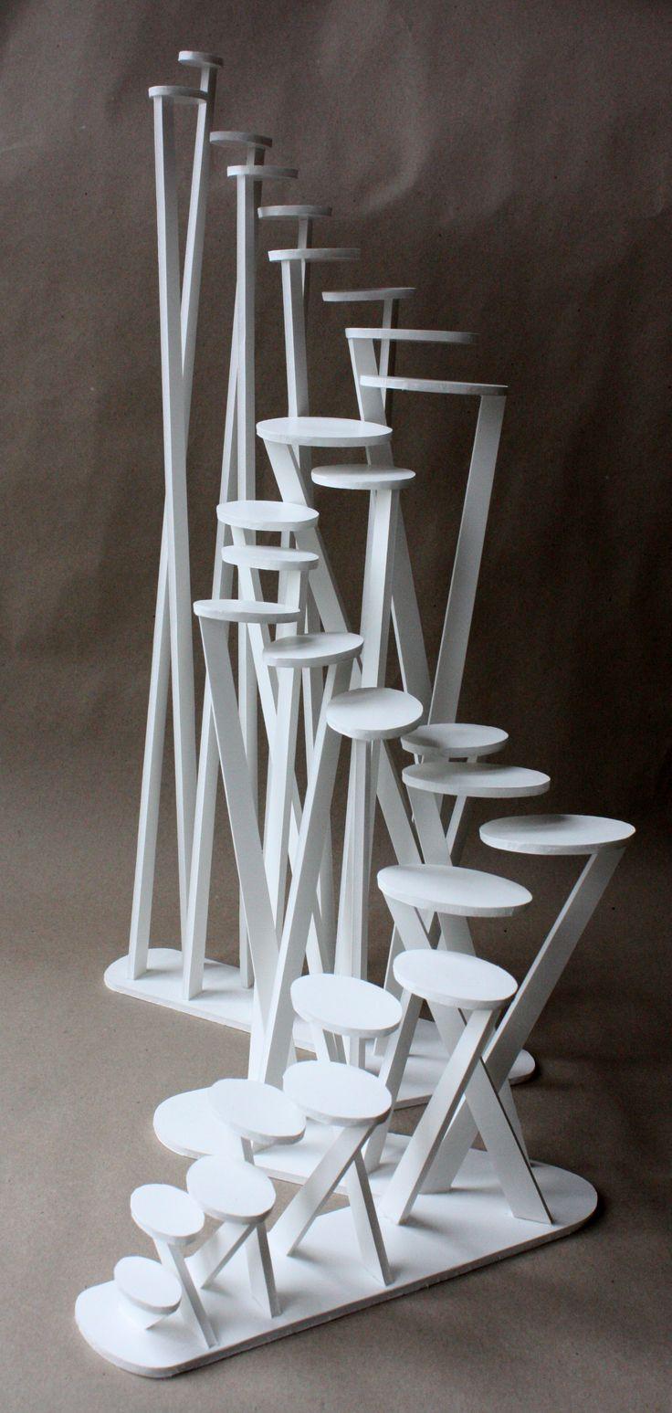 Clara Lieu, Wellesley College Art Department, Staircase Sculpture Assignment, foam board & hot glue, 2008