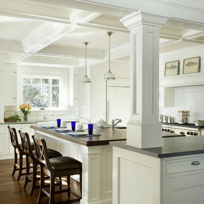 Kitchen Islands With Columns To Ceiling Boston Home