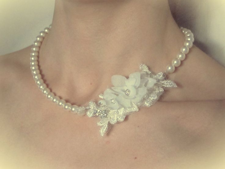 Bridal pearl necklace with lace and silk organza flowers, wedding accessory *made to order* by LucyFisherDesigns on Etsy https://www.etsy.com/listing/213241552/bridal-pearl-necklace-with-lace-and-silk