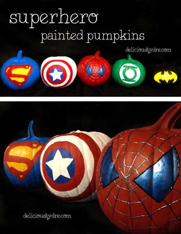 #superhero #painted #pumpkins | delicious by dre
