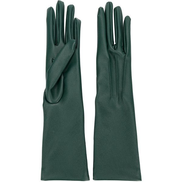 Stella McCartney long gloves (12 170 UAH) ❤ liked on Polyvore featuring accessories, gloves, green, stella mccartney, green gloves, opera gloves, green elbow length gloves and long gloves