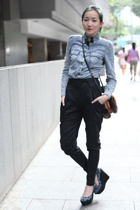 Denim shirt paired with black pantsDenim Blouses, Interesting Pants, Fashion Style, Denim Shirts, Buttons, Singapore, Global Street Style, Global Streetstyle, Black Pants