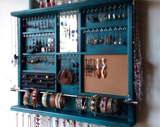 Porta gioielli. Grandi orecchini espositore. Deposito di gioielli in turchese. supporto da parete orecchino montato. portagioie. deposito di orecchini.