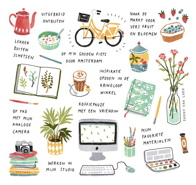 'A day in my life' - illustration for Flow Magazine NL - Sanny van Loon • Illustration | www.sannyvanloon.com | Dutch