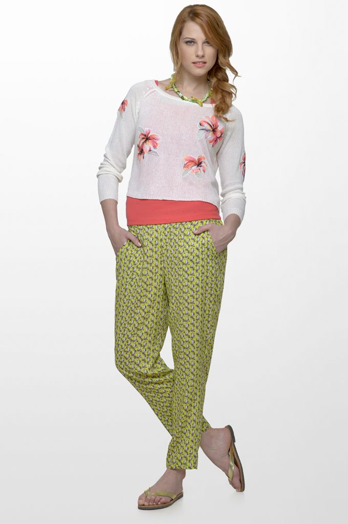 Sarah Lawrence - long sleeve knitted blouse, sleeveless cotton tank, draw string printed loose trouser.