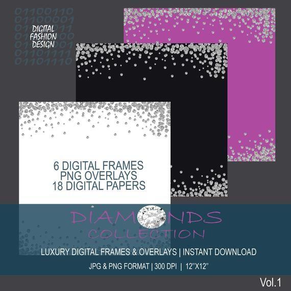 Diamond Silver Confetti Borders Glitter Confetti Clipart Digital Confetti 12 Silver Glitter Border Clipart Overlays Instant Download Arte