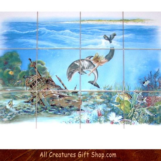 12 best ceramic tile murals images on pinterest tile for Dolphin tile mural