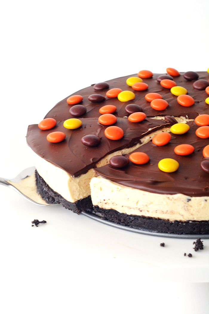 No Bake Reeses Pieces Peanut Butter Cheesecake No Bake
