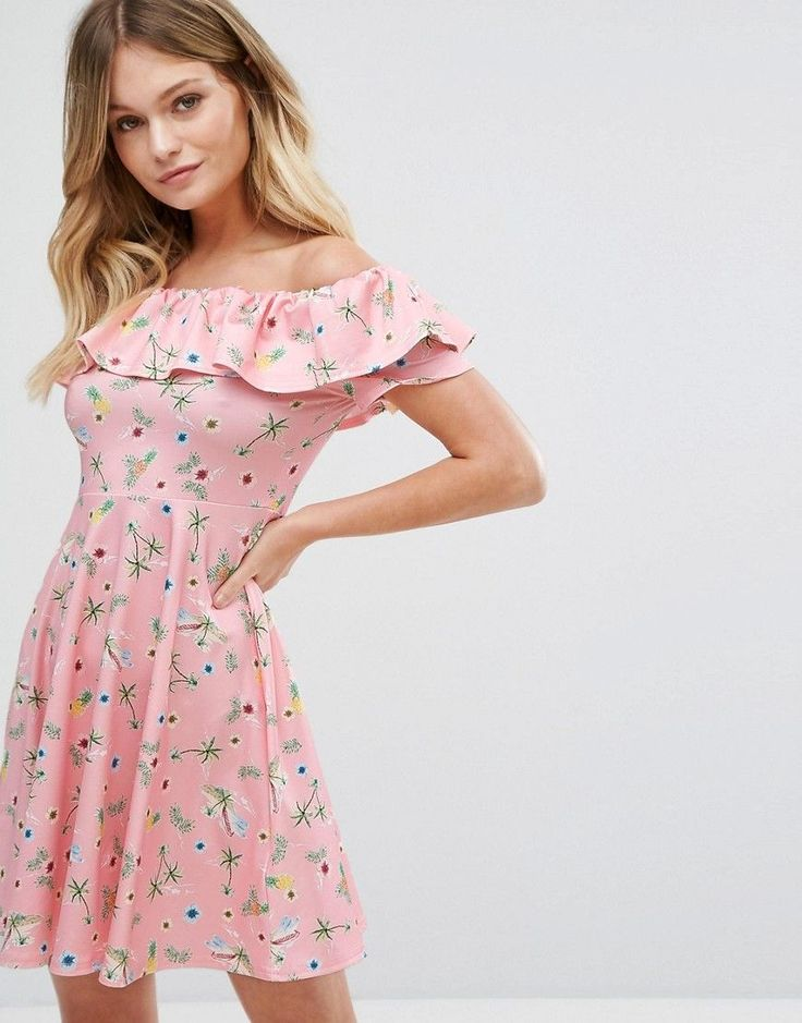 Buy it now. New Look Floral Bardot Dress - Pink. Skater dress by New Look, Smooth and soft woven fabric, Bardot neck, Off-the-shoulder design, Floral print, Fit-and-flare shape, Regular fit - true to size, Machine wash, 95% Polyester, 5% Elastane, Our model wears a UK 8/EU 36/US 4 and is 170cm/5'7 tall. Transforming the coolest looks straight from the catwalk into wardrobe staples, New Look joins the ASOS round up of great British high street brands. Get it or regret it with its weekly drops…