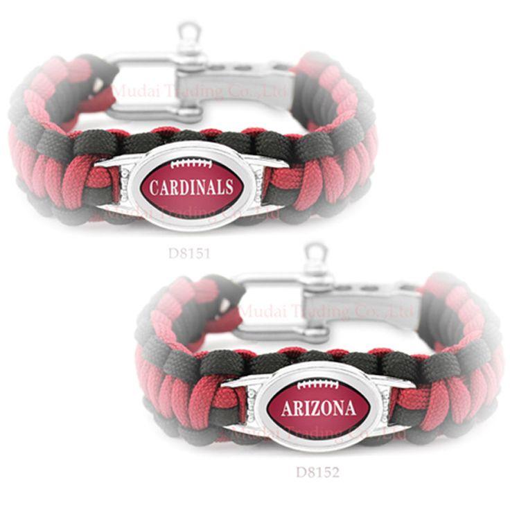 (10 Pieces/Lot) Arizona Football Team Cardinals Adjustable Paracord Survival Friendship Camping Sports Bracelet Red Black