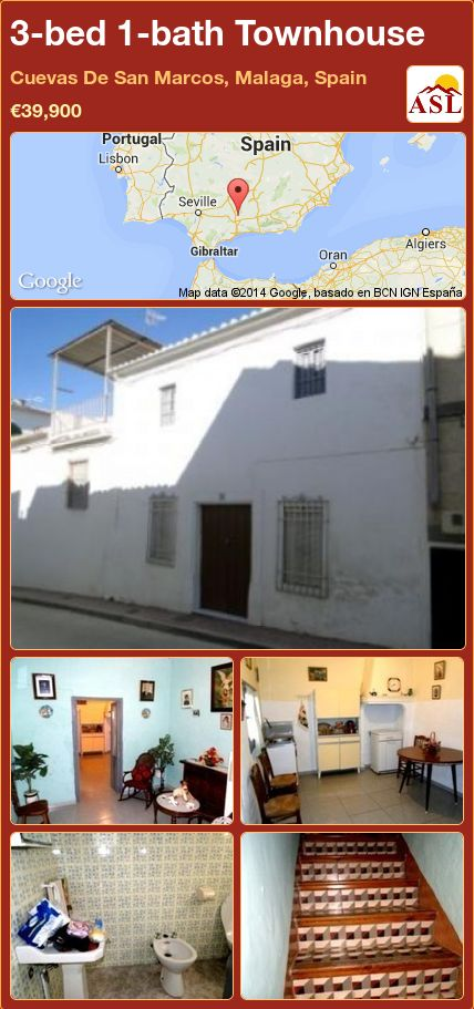 3-bed 1-bath Townhouse in Cuevas De San Marcos, Malaga, Spain ►€39,900 #PropertyForSaleInSpain