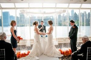 5 Ways To Personalize Your Gay Jewish Wedding by Mazelmoments.com - Jewish Lesbian Wedding {Photo from Cantor Ronald Broden} - GayWeddings.com