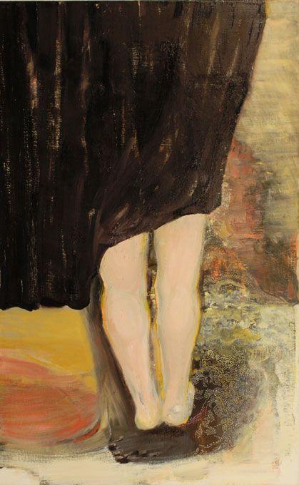 Marli Turion, To hide, 2014 pigmentliner / oil  on canvas 105 x 65cm