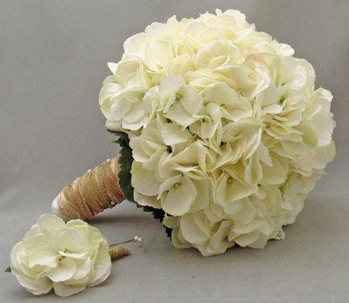 Hydrangea Wedding Bouquets | White Silk Hydrangea Bridal Bridesmaid Bouquet Groom's Best Man Bouts ...