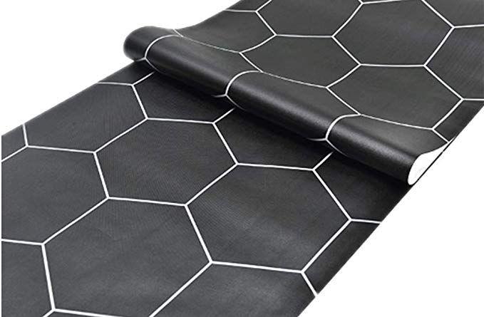 Self Adhesive Black Hexagon Contact Paper Wallpaper Shelf Liner Dresser Drawer Cabinet Bathroom Floor Sticker 2 Wallpaper Shelves Shelf Liner Hexagon Wallpaper