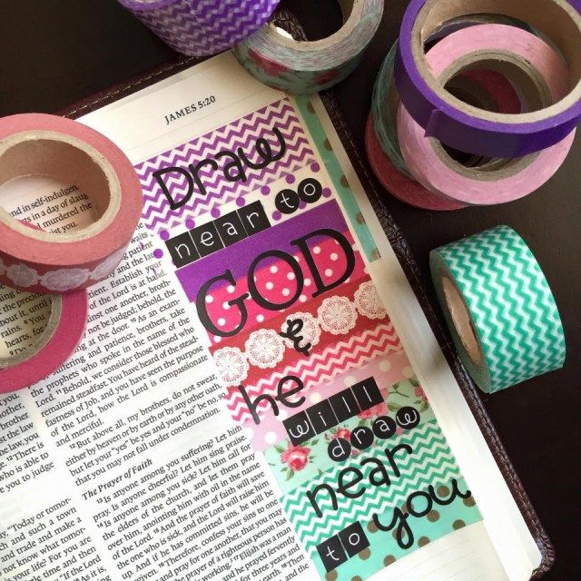 Over 20 ways to decorate your Bible with washi tape. No mater what type Bible- Illustrated or wide margin or notebook. #biblejournaling #washitape #washi