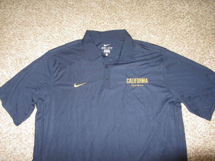 Cal California Bears Football Navy Blue Polo Shirt Nike Dri-Fi Football Large L
