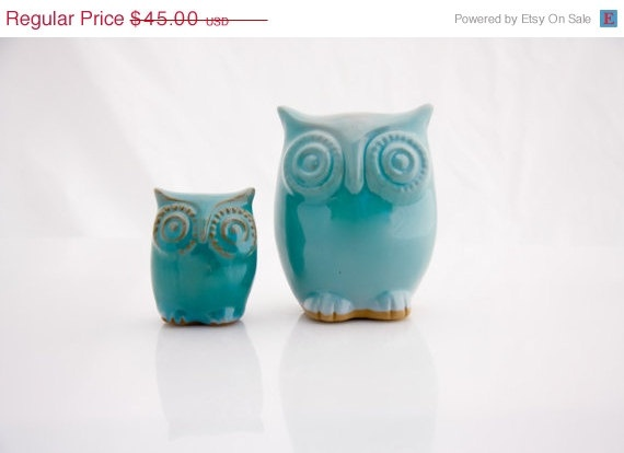 owl decor in robins egg set of two