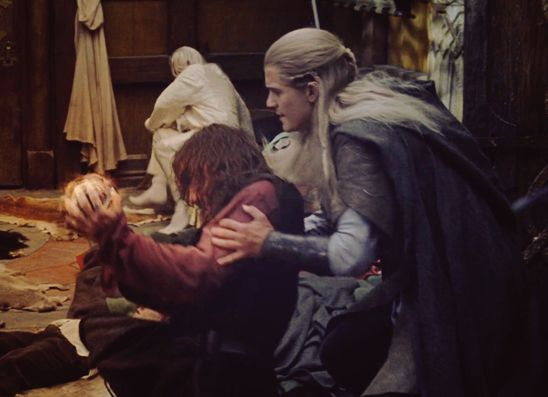 'Highlighting my love for the palantir scene and the fact that Legolas doesn't just catch Aragorn when he falls, but practically drapes himself over him, completely wraps his arms around his waist, and then continues to hover over him and keep hands on him for several moments after he's let go and is alright.' THIS