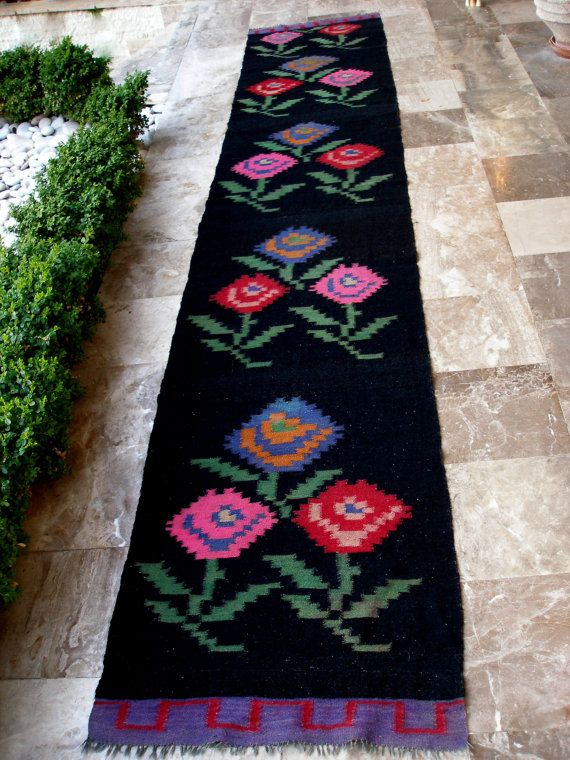 A Garden of Roses in Your Home!!!   Antique Kilim Rug Runner Floral by #VintageHomeStories  #Greek #kilim #rug #runner #floral #roses #black #antique #vintage #handwoven #wool #cottage #chic #home #decor #anatolian #mediterranean