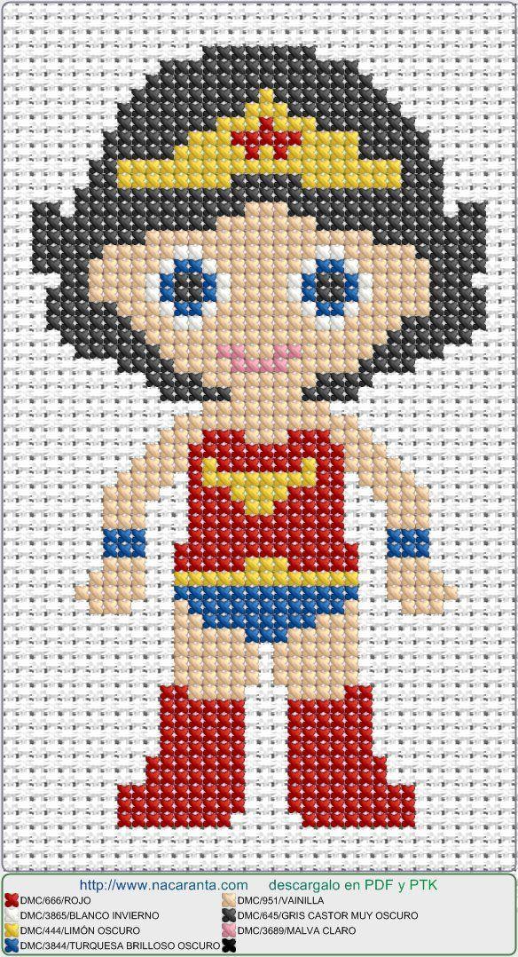 capitan america woman en punto de cruz.  Cross stitch pattern